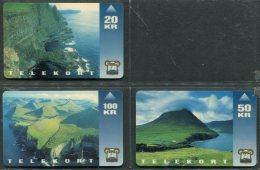 1993 Faroe Islands 3 X Telekort Telephone Cards Telefonverk Foroya Logtings - Faroe Islands