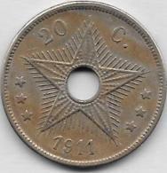 20 CENTIMES 1911 - Congo (Belge) & Ruanda-Urundi