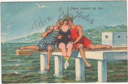 Deux Coeurs En Feu (1935, Flamme Blankenberghe) Baigneurs - Humour