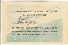 BIGLIETTO TICKET AEROPORTO G.M. BELTRAM (OGGI CASELLE TORINESE) - BIGLIETTO TICKET D´INVITO ALLA MANIFESTAZIONE 1939 - Announcements