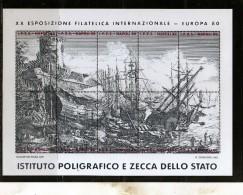ITALIA  ITALY 1980 NAPOLI 80 EUROPA IPZS SALVATOR ROSA DIPINTO BLOCCO FOGLIETTO SHEET ERINNOFILIA ERINNOFILO - Erinnofilia