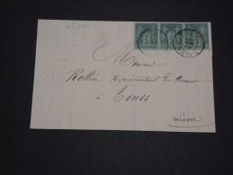 FRANCE - Lettre De Nevers Pour Tours En 1887 , Affranchissement Sage En Bande De 3 - A Voir - L 1738 - Postmark Collection (Covers)
