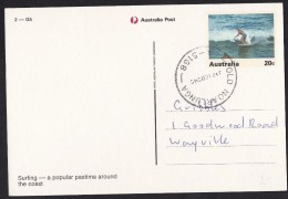 Australia: Stationery Picture Postcard, Surfing, Surfer, Sports, Cancel Old Noarlunga (traces Of Use) - Australia