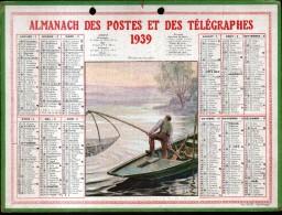 CALENDRIER GRAND FORMAT, 1939, ILLUSTRATION: PECHE AU CARRELET, SCANS RECTO ET VERSO - Calendars