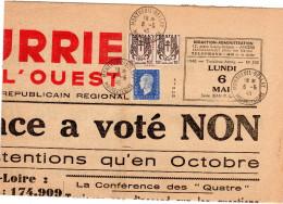 """Marianne De Dulac - 10c Blu Sur Journal """"Courrier De L'Ouest"""" (Oblitération: 6/05/46) Demi Page - 1944-45 Marianne Of Dulac"""