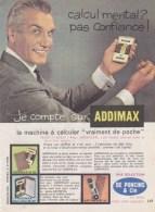 """Pub.1960 ADDIMAX Machine à Calculer De Poche  De Poncins & Cie  """"Calcul Mental ? Pas Confiance ! """" BE - Publicités"""