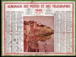 CALENDRIER GRAND FORMAT, 1940, ILLUSTRATION: LE PORT DE MARTIGUES, SCANS RECTO ET VERSO - Calendars