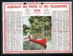 CALENDRIER GRAND FORMAT, 1940, ILLUSTRATION: Au Fil De L4eau, SCANS RECTO ET VERSO - Calendars