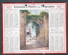 CALENDRIER GRAND FORMAT, 1940, ILLUSTRATION: GUERANDE, LA PORTE VANNETAISE, SCANS RECTO ET VERSO - Calendars