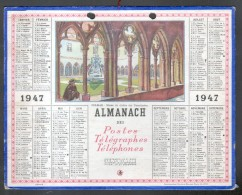 CALENDRIER GRAND FORMAT, 1947, ILLUSTRATION: COLMAR, MUSEE DU CLOITRE DE UNTERLINDEN, SCANS RECTO ET VERSO - Calendriers