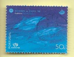 TIMBRES - STAMPS - PORTUGAL - 1998 - LES MERS DE L'ARCHIPEL DES AÇORES - DAUPHINS - TIMBRE OBLITÉRÉ - Portugal