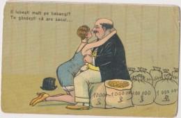 HUMOUR- Ancienne CP Roumaine-(Tu L´aimes Beaucoupe? Mais Tu Pansez  Q´il A Les Sacs..) Environ 1920 - Couples