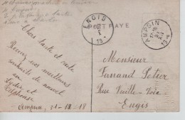 CP Fantaisie En Port Payé Griffe Linéaire Daté De Ampsin 31/12/18 C.Ampsin 31/12/18 Fortune V.Engis C.d'arrivée PR3391 - Fortuna (1919)