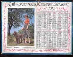 CALENDRIER GRAND FORMAT, 1956, ILLUSTRATION: PROMENADE MATINALE, SCANS RECTO ET VERSO - Calendars