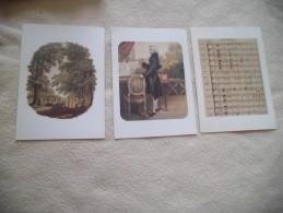 3 CARTES DOUBLE ...PARTITION D'IDOMENEE ..PORTRAIT DE MOZART ET JARDINS D'AUGARTEN ...ED. ATLAS - Peintures & Tableaux