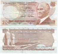 Turquía - Turkey  20 Lirasi 1974 (L1970) Firmas En Negro Pick 187.a Ref 857 - Turquia