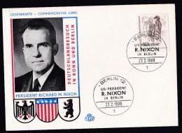 Germany - Berlin: Commemorative Card, 1969, 1 Stamp, Visit Of US President Nixon (minor Creases) - [5] Berlijn