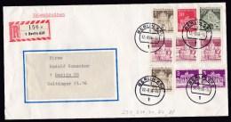 Germany Berlin: Registered Cover, 1966, 9 Stamps, Building, R-label, Proof Of Posting Affixed At Back (minor Damage) - [5] Berlijn