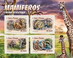S. Tomè 2016, Animals, Leopards, Monkeys, Giraffes, 4val In BF