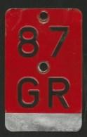 Velonummer Graubünden GR 87 - Number Plates