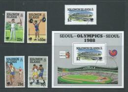 Solomon Islands 1988 Seoul Olympic Games Set 4 , Miniature Sheet & $2 Single Ex MS FU - Isole Salomone (1978-...)