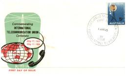 (619) Australia FDC Cover - 1965 - Telecommunication Union (dark Green) - FDC