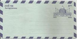 India, Aerogramme,8R50p, Postal Stationery, Mint,Taj Mahal, UNESCO Heritage Site,Western Union Money Transfer Advertisem - Aerogramas