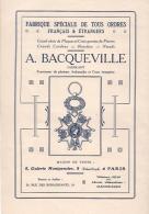PARIS 1er - BACQUEVILLE - FABRIQUE MEDAILLES Et DECORATIONS - Publicités