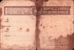 CARTOLINA POSTALE IN FRANCHIGIA PER LE FORZE ARMATE REPUBBLICANE R.S.I. - Weltkrieg 1939-45