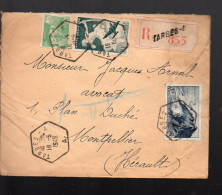 Lettre Recommandée 1949 Avec Poste Aérienne 16 ET CACHET HEXAGONAL TARBES (PPP3881) - Postmark Collection (Covers)