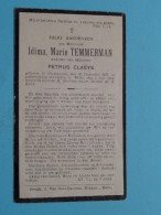 DP Idima, Marie TEMMERMAN ( Petrus CLAEYS ) Gijsenzeele 25 Dec 1878 - Melle 5 Juli 1934 ( Zie Foto's ) ! - Avvisi Di Necrologio