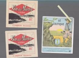 Lot De 3 Etiquettes -  Vin Du Marin Griffon - Douarnenez - Le Celtique Eau De Vie J.Griffon - Publicités