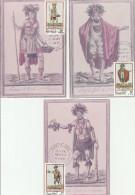 Folklore Polynésien - 3 Cartes Maximum Papeete 1983 - Costumes - Maximum Cards