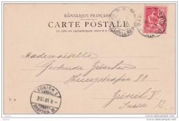 France - 1901 - CP De  Paris  à  Zurich, Suisse - Cad Arrivée - 10 C Mouchon  Seul - Portrait Du Roi De Rome - Francia