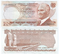 Turquía - Turkey 20 Lirasi 1974 (L1970) Firmas En Marrón Pick 187.b Ref 858 - Turquia