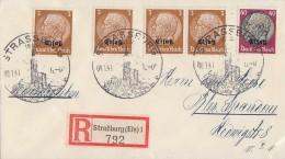 Elsass R-Brief Mif Minr.4x 1, 14 Strassburg 8.1.41 Gel. Nach Berlin - Besetzungen 1938-45