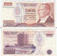 Turquía - Turkey 20.000 Lirasi 1988 (L 1970) Firmas En Negro Pick 201.b Ref 877 - Turquia