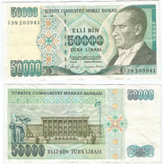 Turquía - Turkey 50.000 Lirasi 1989 (L 1970) Firmas En Negro Pick 203.a Ref 881 - Turquia