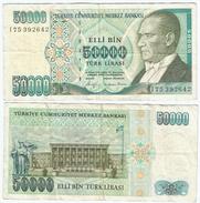 Turquía - Turkey 50.000 Lirasi 1989 (L 1970) Firmas En Negro Pick 203.a Ref 882 - Turquia