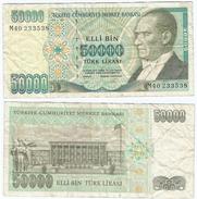 Turquía - Turkey 50.000 Lirasi 1995 (L 1970) Firmas En Verde Pick 204 Ref 883 - Turquia