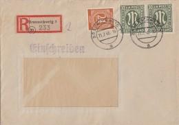 AM-Post R-Brief Mif Minr.2x 29, Gemeina. Minr.925 Braunschweig 11.7.46 - Bizone