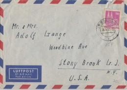 Bauten Brief Luftpost EF Minr.96eg Bremen 28.4.52 Gel. In USA - Bizone