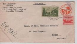 USA Air Mail PSL Written From Ponape Caroline Islands 1951 To Liège Belgium PR3408 - Entiers Postaux