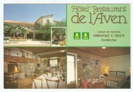 07 - ORGNAC L´AVEN HOTEL RESTAURANT DE L´AVEN Mr SARRAZIN - ÉDITIONS LOGIS DE FRANCE - NON CIRCULÉE - 2 Scans - France