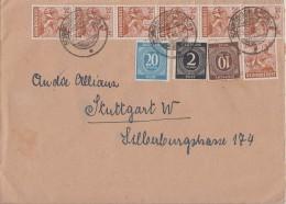 Gemeina. Brief Zehnfach Schwäbisch Gmünd 23.6.48 Gel. Nach Stuttgart - Gemeinschaftsausgaben