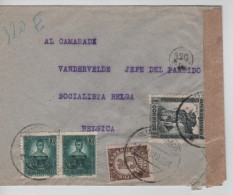 Espagne-Espana Air Mail Cover Gudalajara 4/5/1938 To Belgium Censored PR3409 - 1931-Today: 2nd Rep - ... Juan Carlos I