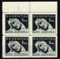 Kroatien (NDH) Zwangszuschlagsmarken 1944 Mi 5 ** Viererblock [270816XVI] - Croatia