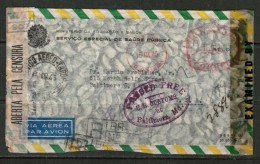 BRAZIL   1945 MINISTRY Of EDUCATION DOUBLE CENSOR METER REGISTERED AIRMAIL COVER TO BALTIMORE, U.S.A. (15/III/45) - Brazil