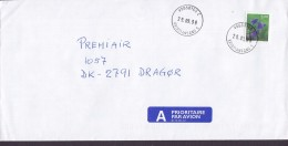 Norway A PRIORITAIRE Par Avion Label VÅGSBYGD Kristiansand 1999 Cover Brief DRAGØR Denmark 5.00 Kr Flower Stamp - Norwegen
