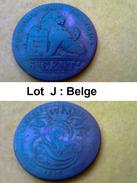 Lot J - 5 Cents - LEOPOLD PREMIER Roi Des BELGES - Pièce Monnaie - 1842 - Belgique - 1831-1865: Leopoldo I